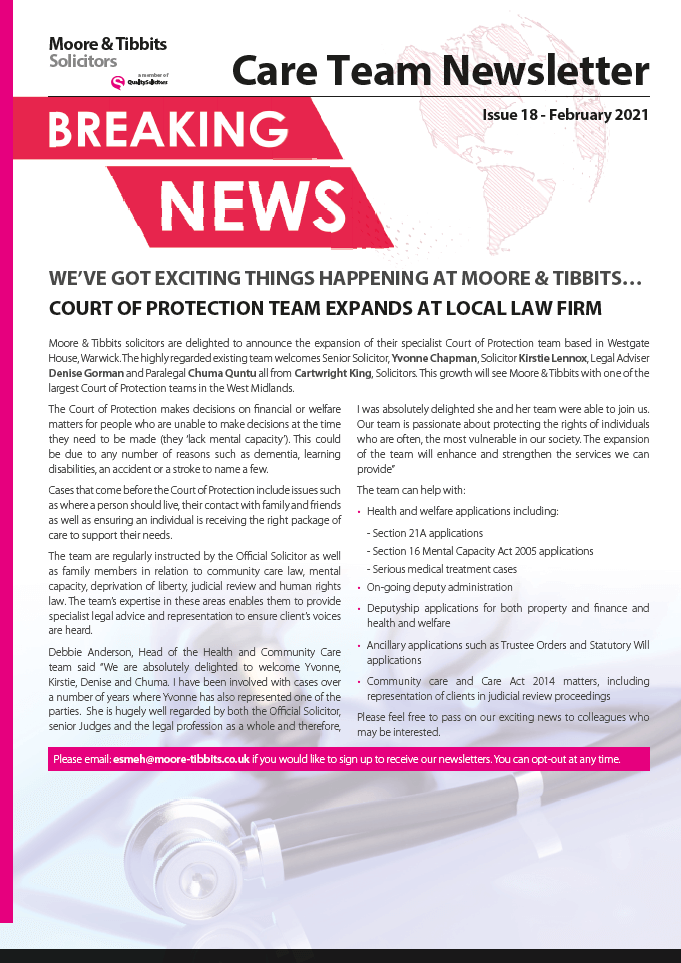 Moore & Tibbits Care Newsletter