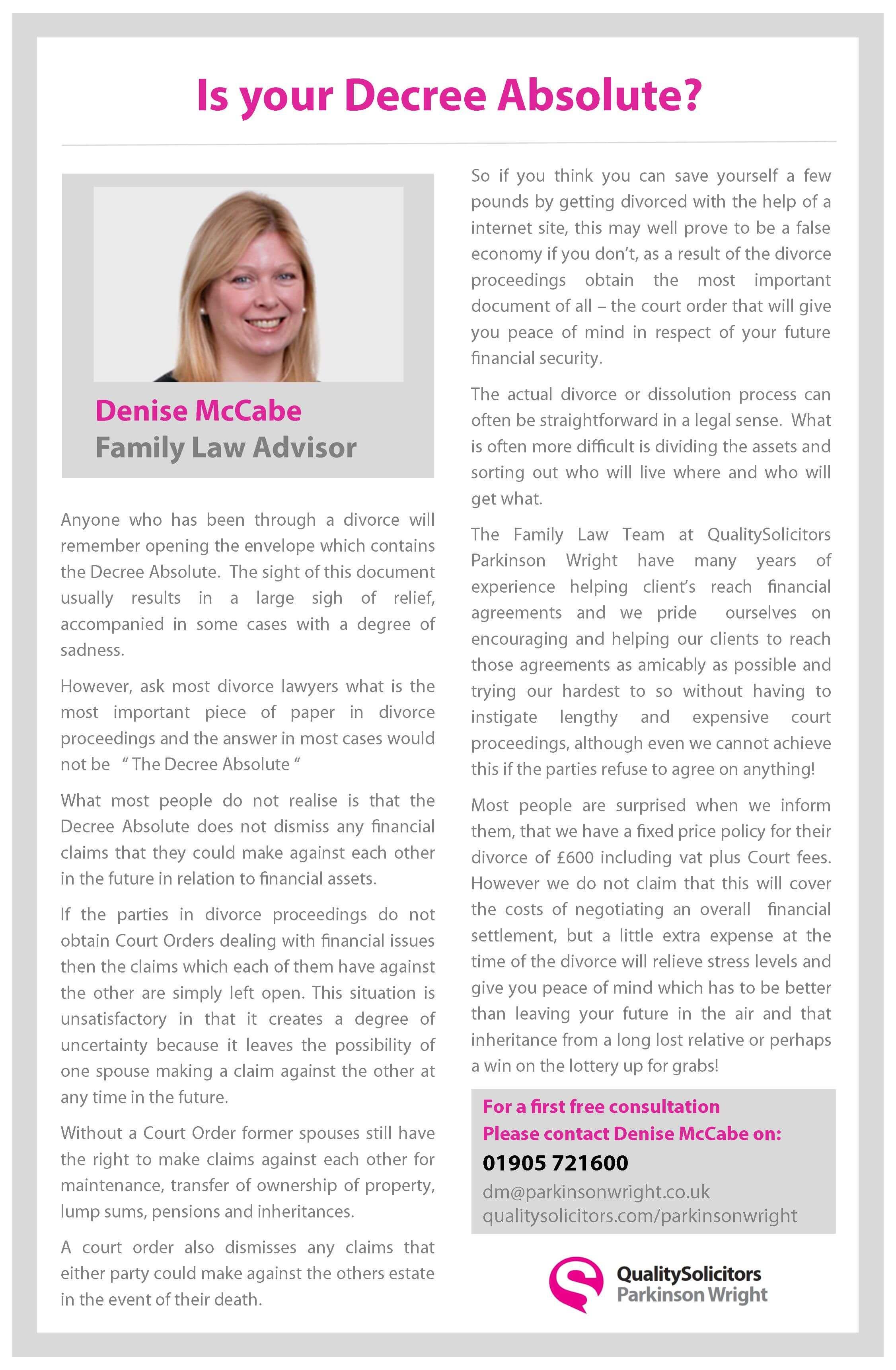 Denise Mccabe Qualitysolicitors Parkinson Wright